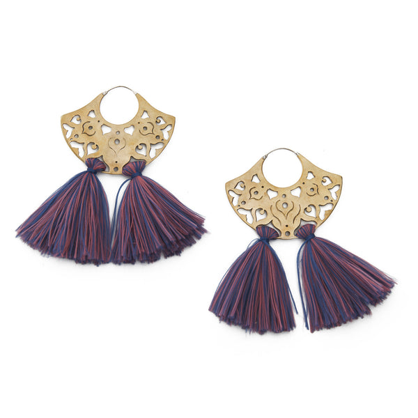 Pink & Purple Double Tassel Earrings