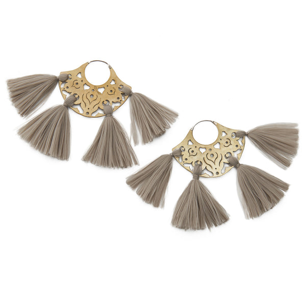 Taupe Four Tassel Earrings