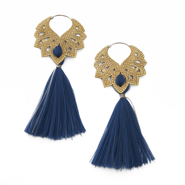 Blue Single Tassel Earrings