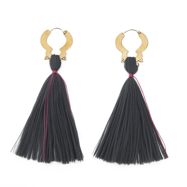 Grey and Pink Single Tassel Earrings
