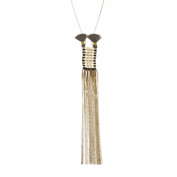 Slinky Black Tassel Brass Necklace