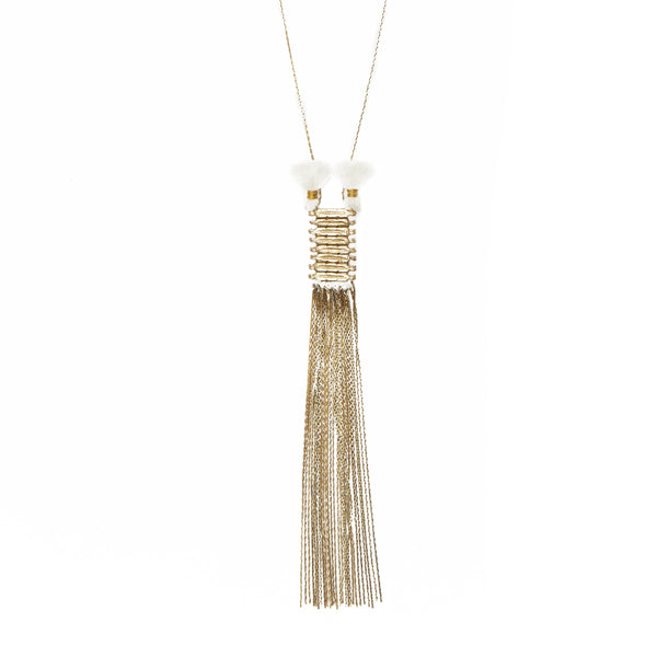 Slinky White Tassel Brass Necklace