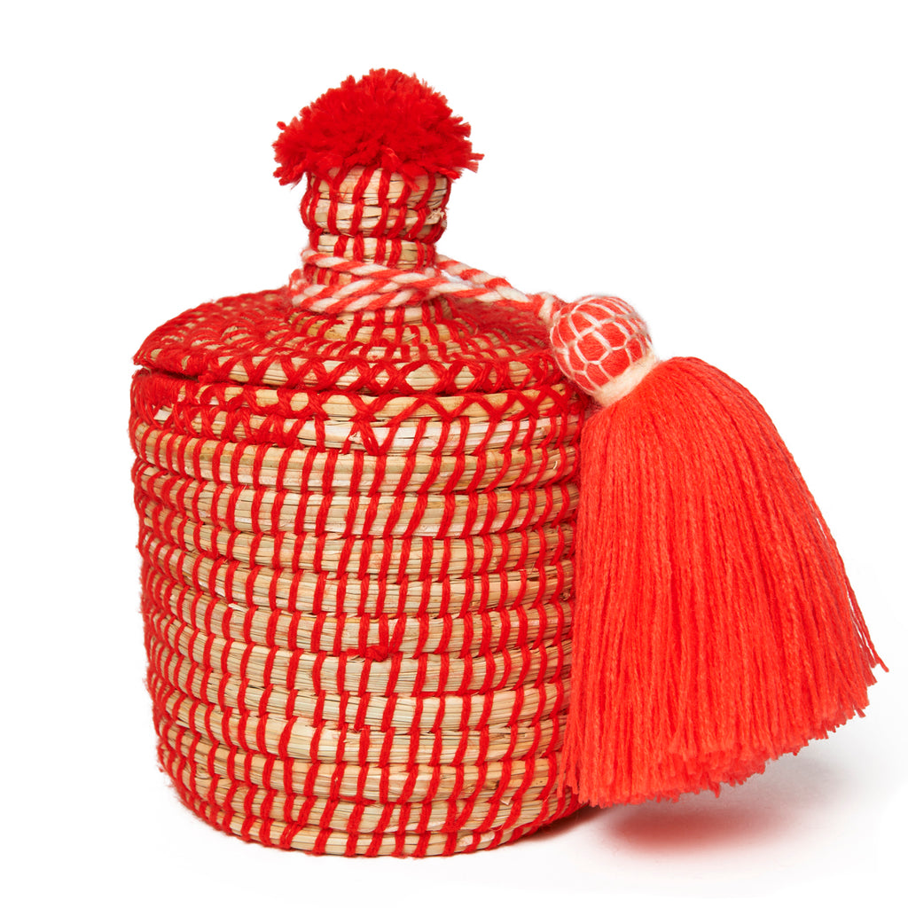Large Red Moroccan Basket