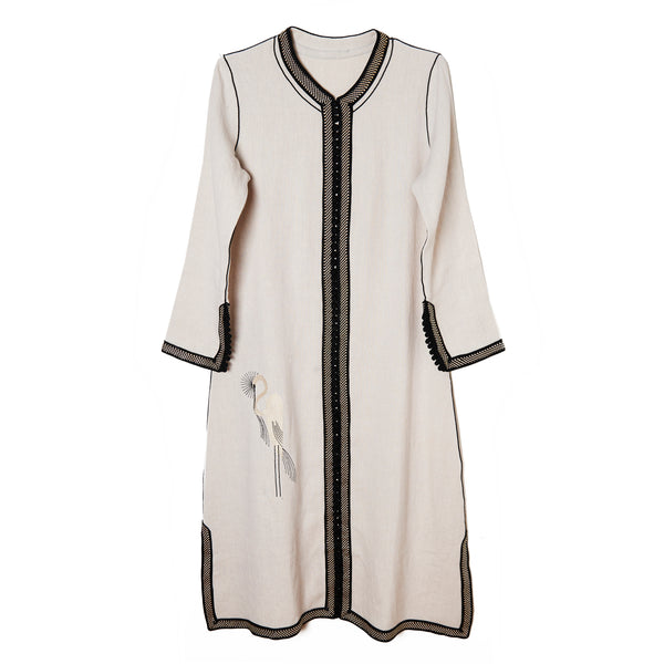 Embroidered Long Heron Tunic