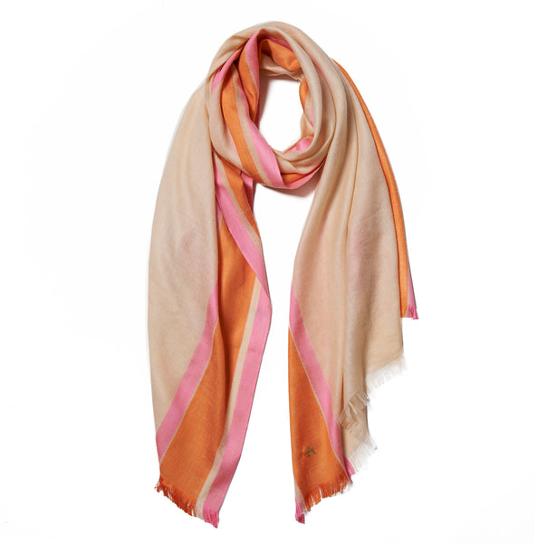 Beige Cashmere Scarf with Orange & Pink Border