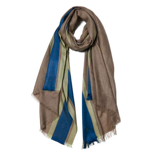 Brown Cashmere Scarf with Navy & Green Border