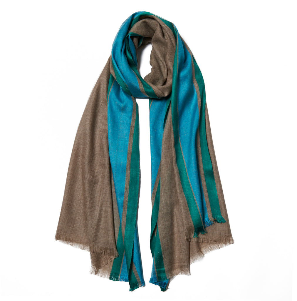 Beige Cashmere Scarf with Turquoise & Green Border