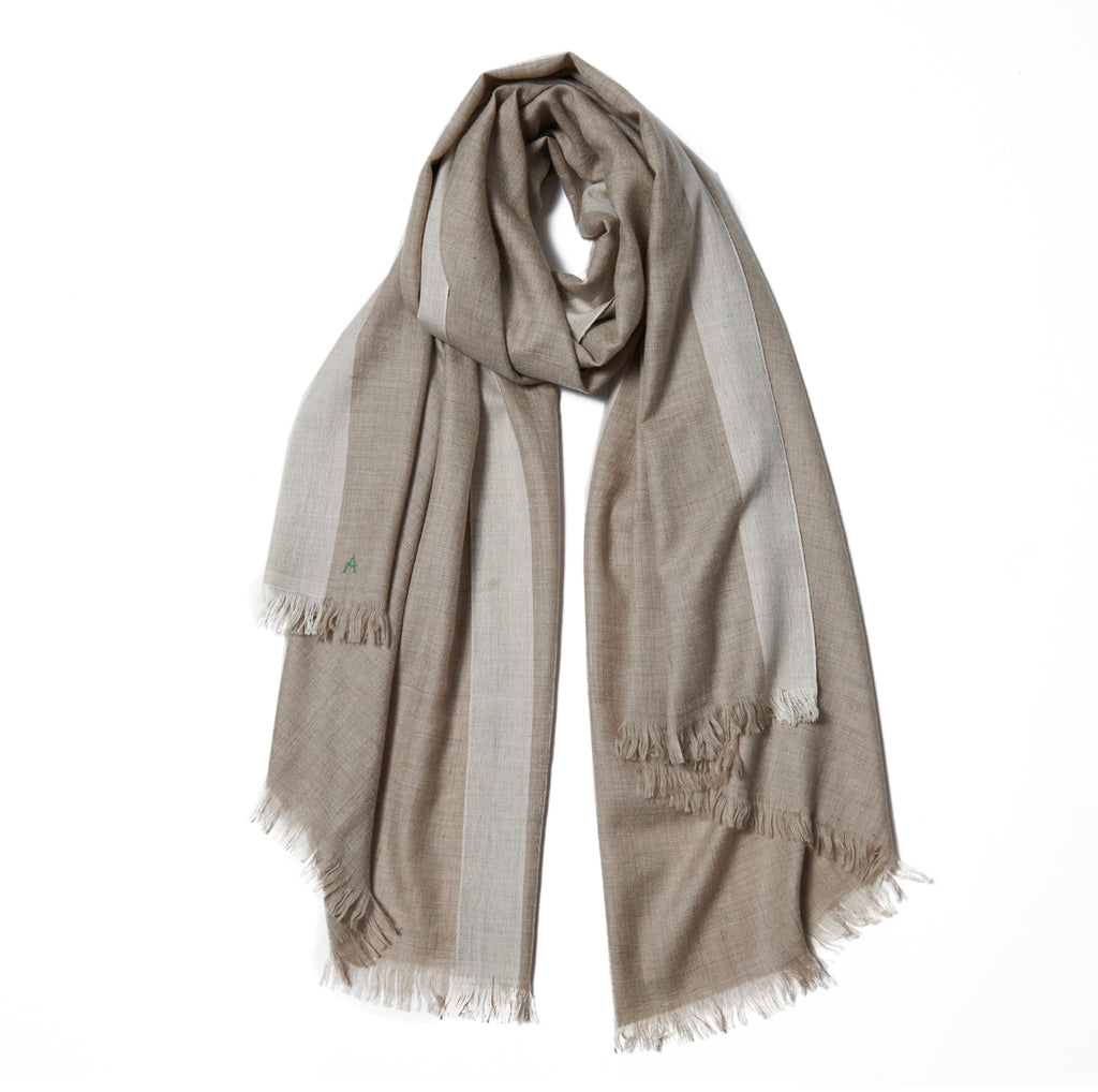 Beige Cashmere Scarf with White Stripe