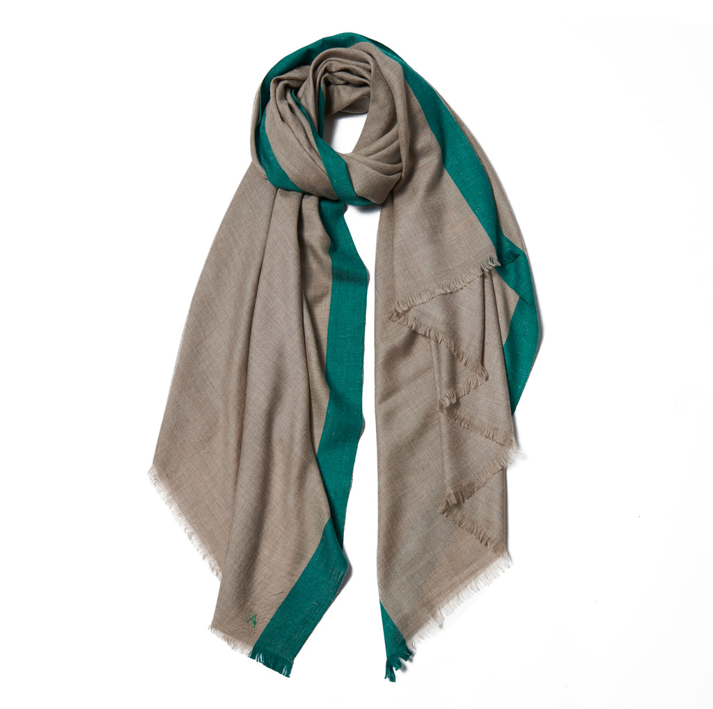 Beige Cashmere Scarf with Green Border