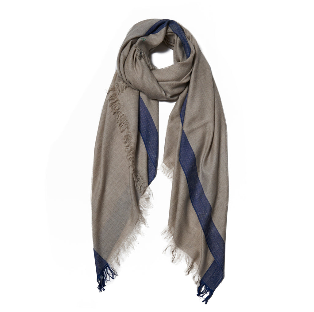 Beige Cashmere Scarf with Navy Border