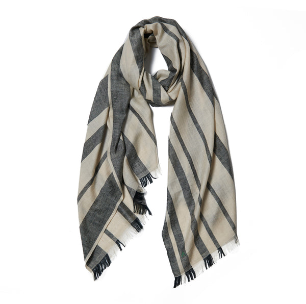 Gray & Ivory Striped Cashmere Scarf