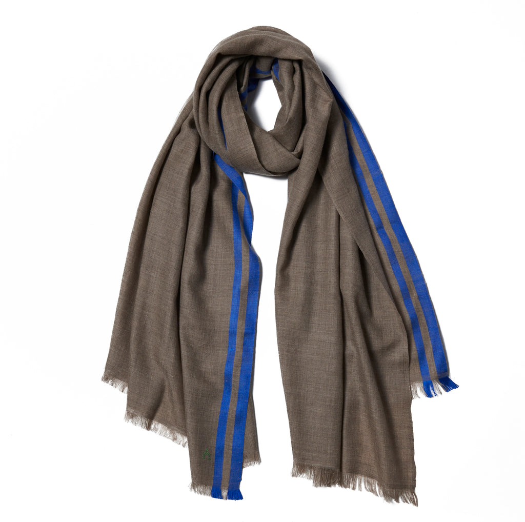 Beige Cashmere Scarf with Blue Border