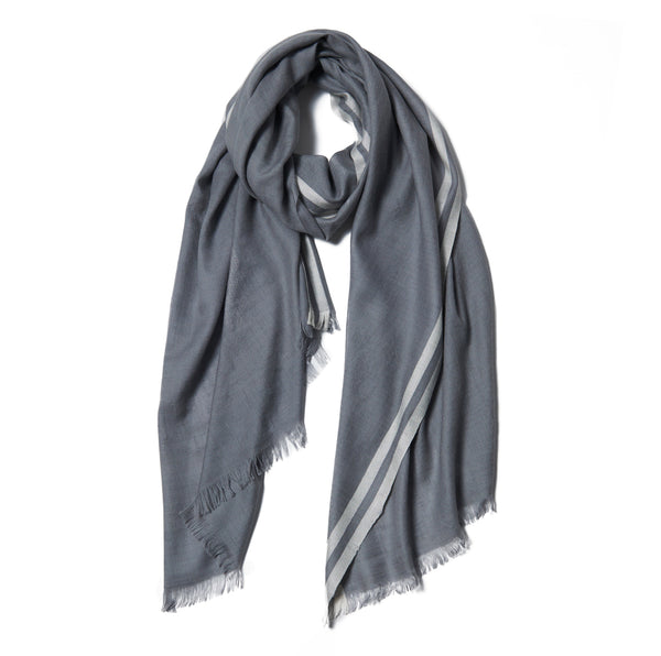Gray Striped Cashmere Scarf