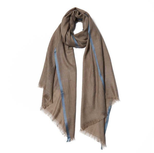 Beige Cashmere Scarf with Silver Border