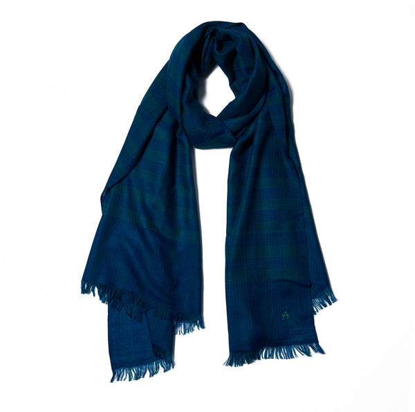 Blue & Green Plaid Cashmere Scarf