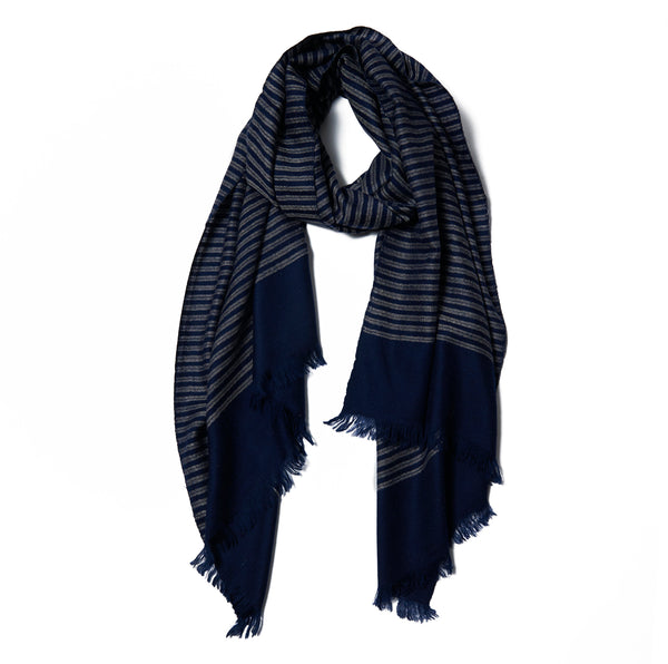 Blue & Gray Striped Cashmere Scarf