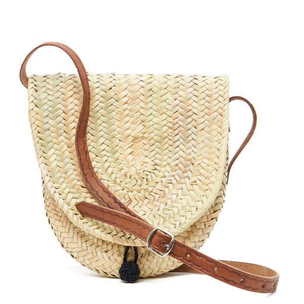 Palm Weave Purse with Leather Strap