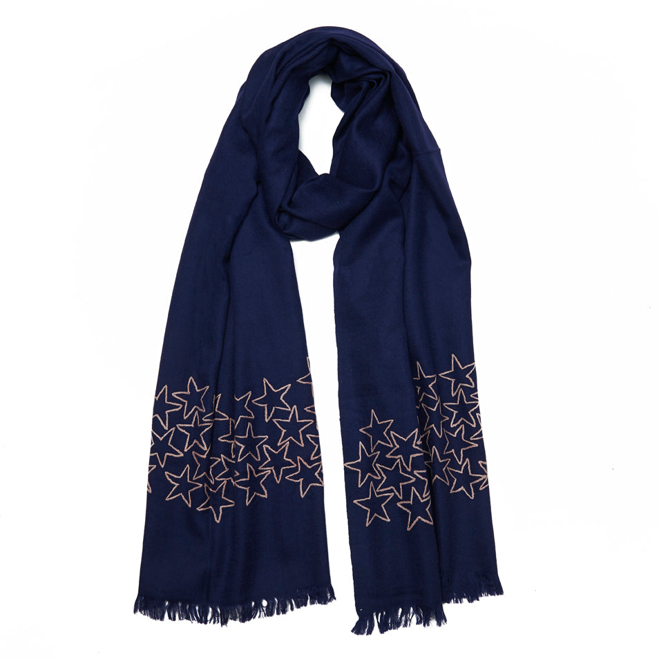 Navy & Nude Wool Myraid Star Scarf
