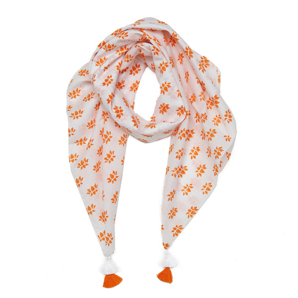 White & Orange Mal-Mal Cotton Lotus Scarf
