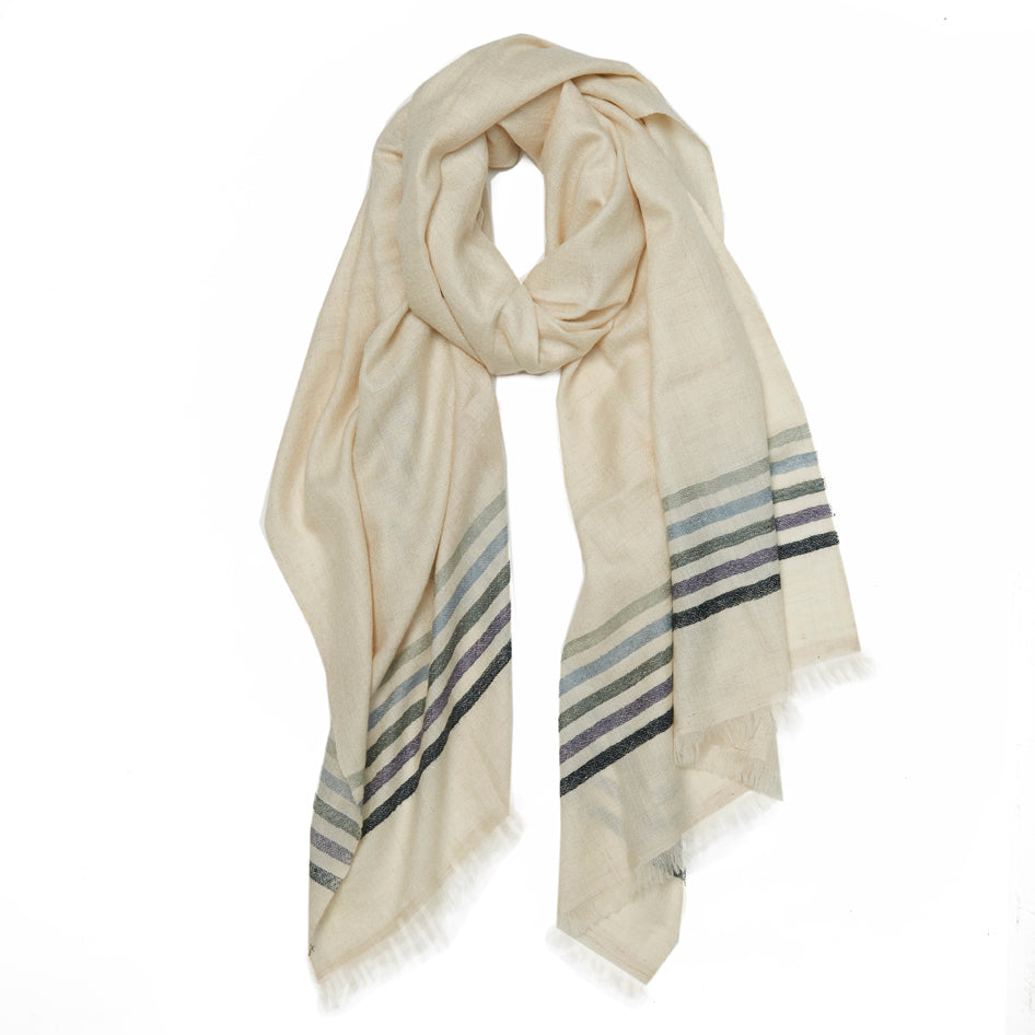 Ivory Striped Cashmere Scarf