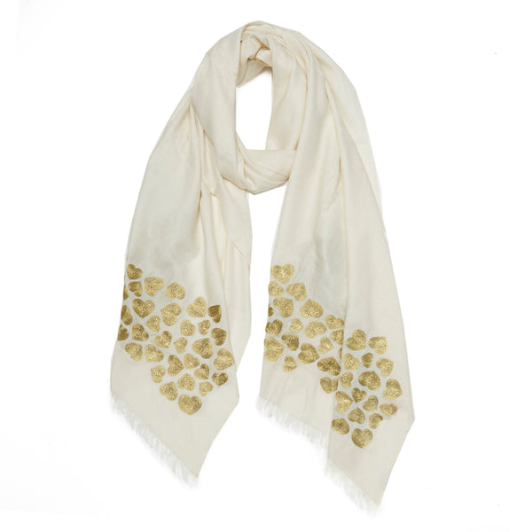 Ivory & Gold Wool Wave Hearts Scarf