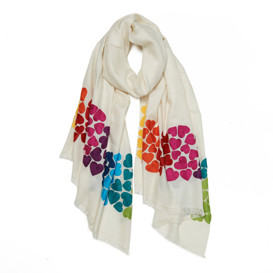 Ivory Wool Wave Hearts Scarf