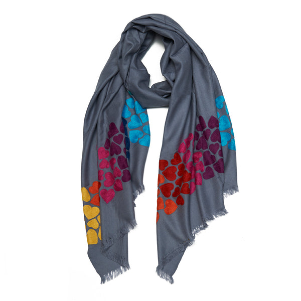 Gray Wool Wave Hearts Scarf