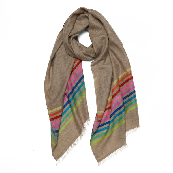 Multicolored Striped Cashmere Scarf