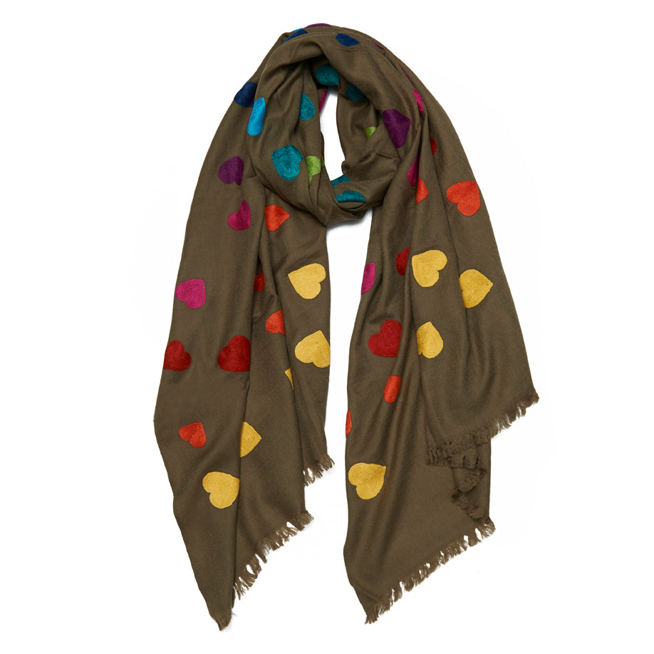Khaki Wool All Over Hearts Scarf