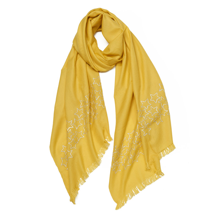 Yellow & Silver Wool Myraid Metal Star Scarf