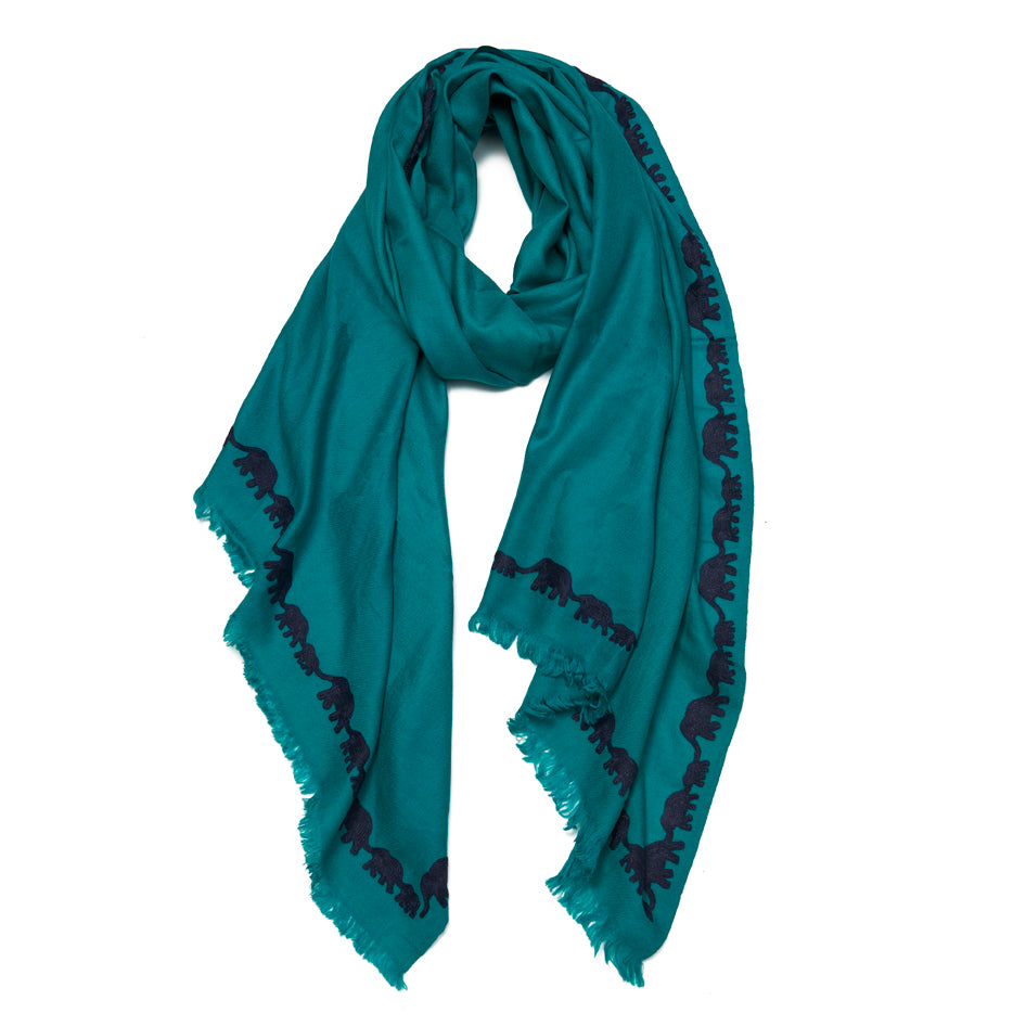 Teal & Navy Wool Elephant Scarf