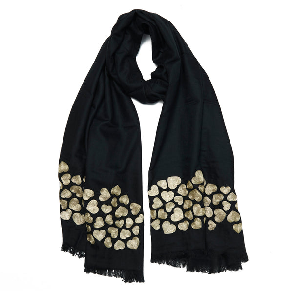 Black & Gold Wool Wave Hearts Scarf