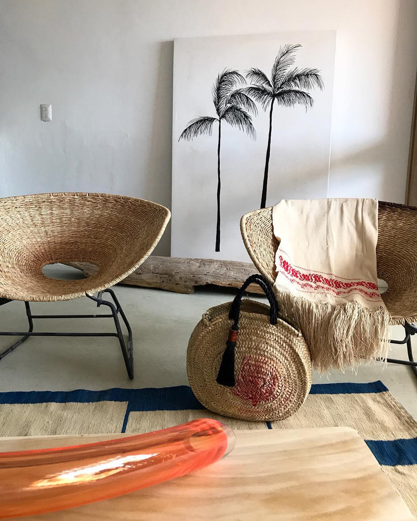 LIMITED EDITION: Woven Palm Tassel Tote with Hand-Painted Coral