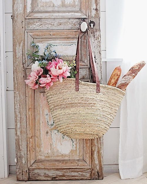 Dark Blue Palm Seville French Market Basket