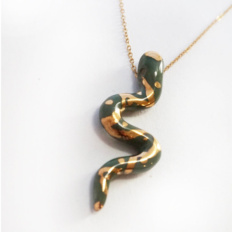 Small Dark Green Porcelain Snake Pendant Necklace
