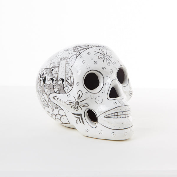 TETERETE, White Glazed Ceramic Mexican Skull
