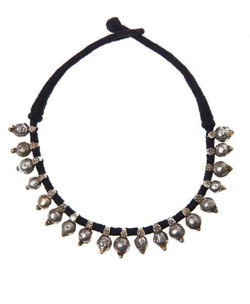 Metal Alloy Skull Black Thread Bandaru Short Necklace