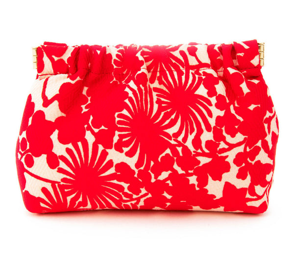 CHAKO, Red And White Kimono Red Floral Petite Dumpling Bag