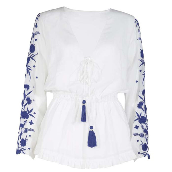White and Blue 55 Blouse