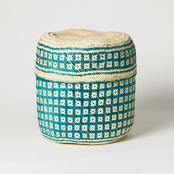 TETERETE, Green Small Tenate Hand Woven Basket