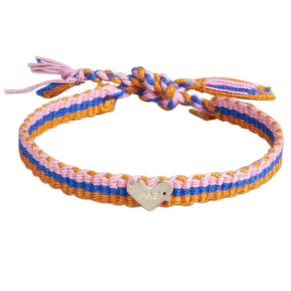 Orange Woven Paz Heart Tie Bracelet