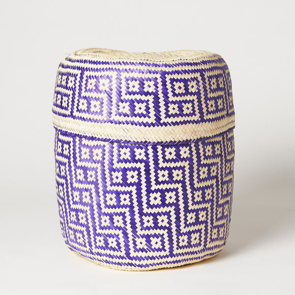 TETERETE, Purple Medium Tenate Hand Woven Basket
