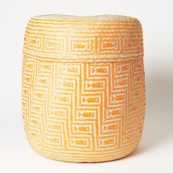 TETERETE, Large Yellow Tenate Hand Woven Basket
