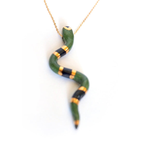 Large Dark Green Porcelain Snake Pendant Necklace