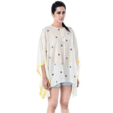 Black and Yellow Square Cotton Shaina Caftan