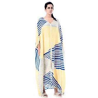 Blue and Yellow Usha Caftan