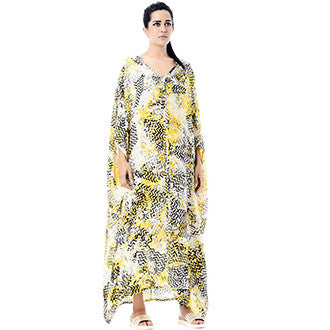 Black and Yellow Usha Caftan