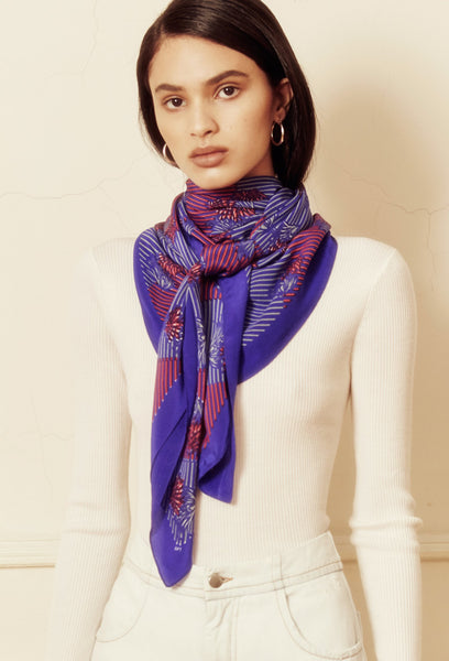 Red and Blue Crepe Silk Akita Scarf
