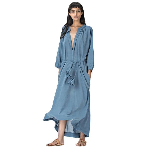 Blue Anara Tutu Cotton Caftan
