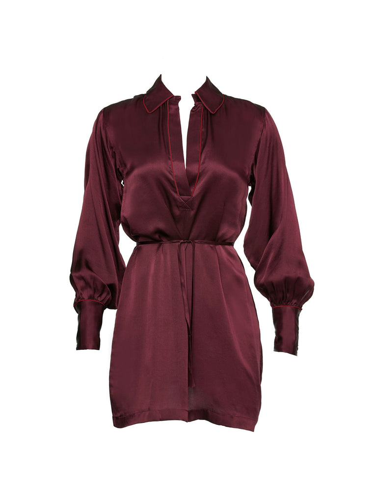 Wine Silk Vytas Dress